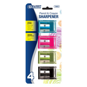 Dual Blade Pencil Sharpener with Rceeptacle Assorted Colors